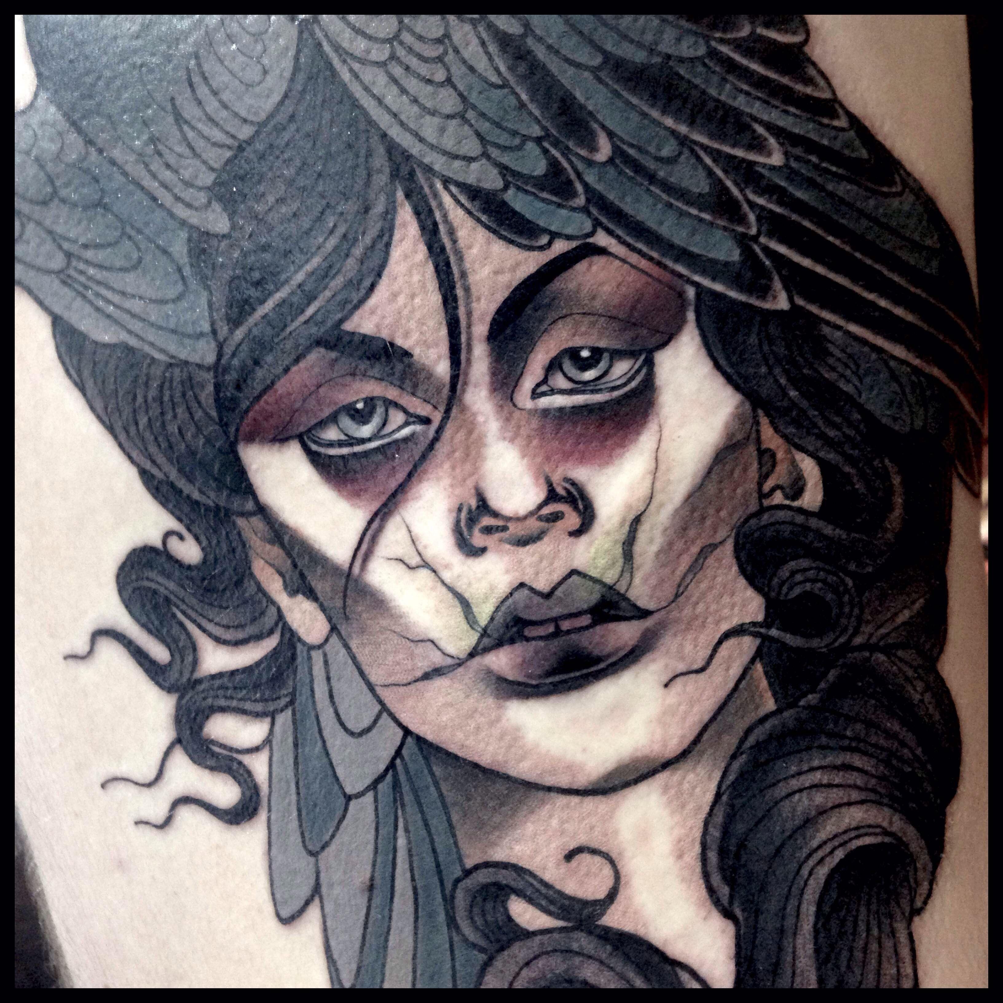 #tattoo #neotraditional #ladyhead #birdtattoo #colourtattoo #girl #tahnee_claire #ironmindtattoo #brunswickheads