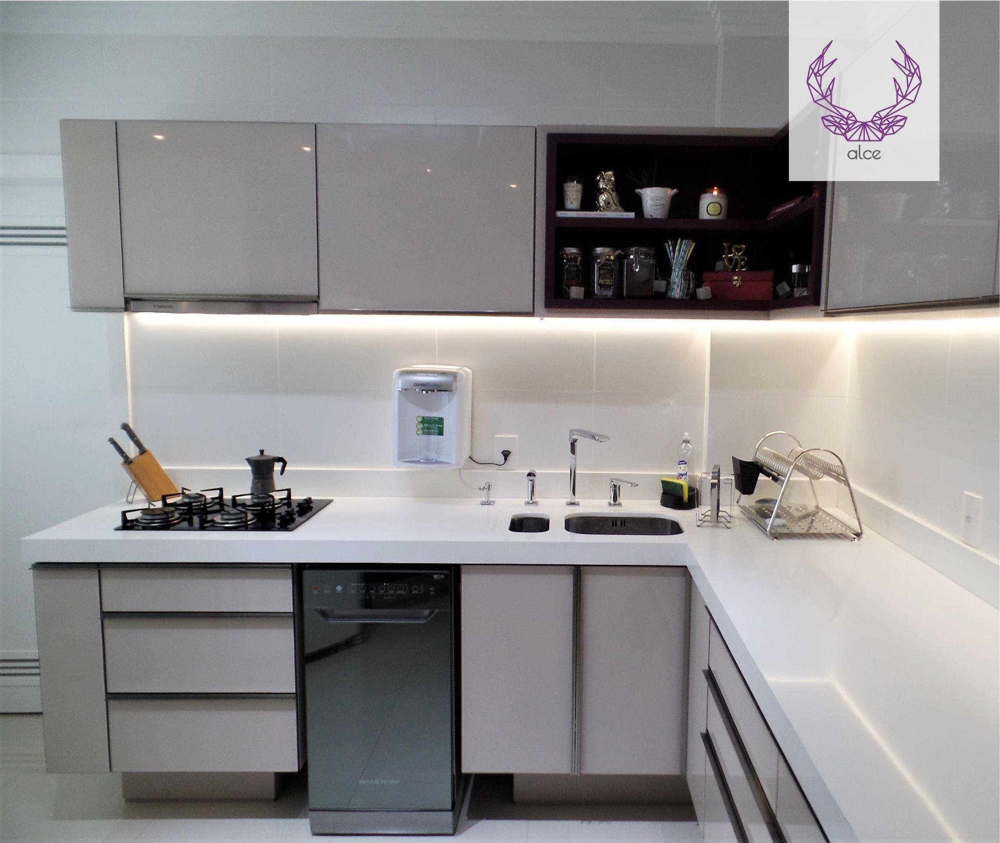 Cozinha Com Ilumina O Em Led Arm Rio Bege Nicho Beringela E