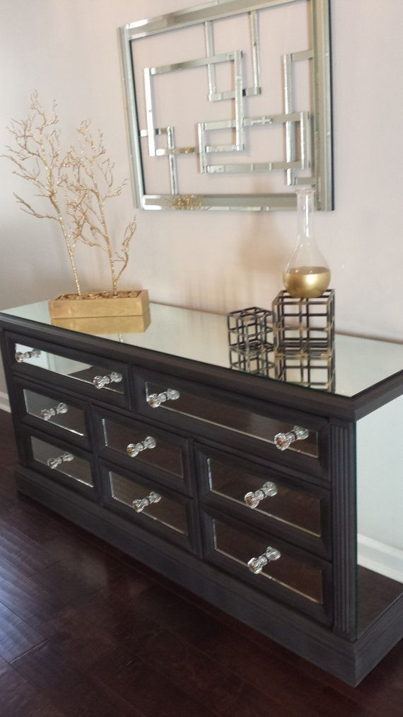 Mirrored Dresser Graphite With Trim Classic 7 Drawer Mirror