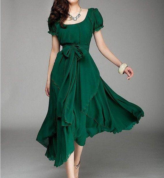 d6acc941998 Women s Jade Green Color Chiffon Long Skirt circumference Long Dress maxi  skirt maxi Dress Party Wedding Prom Dress S