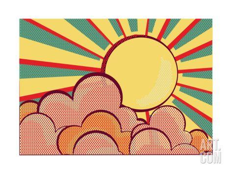 Sun And Blue Sky With Beautifull Clouds.Retro Image Art Print by GeraKTV at Art.com