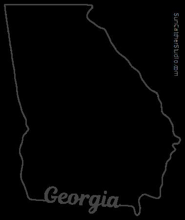Georgia Map Outline Printable State Shape Stencil Pattern Georgia Map Georgia Tattoo Georgia Outline