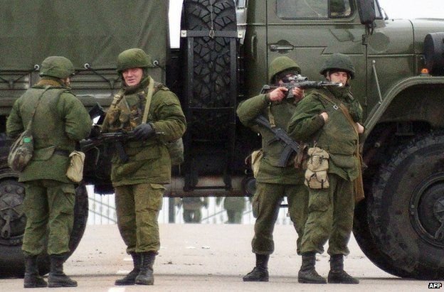 Unidentified gunmen near Sevastopol's airport, Crimea, 28 February