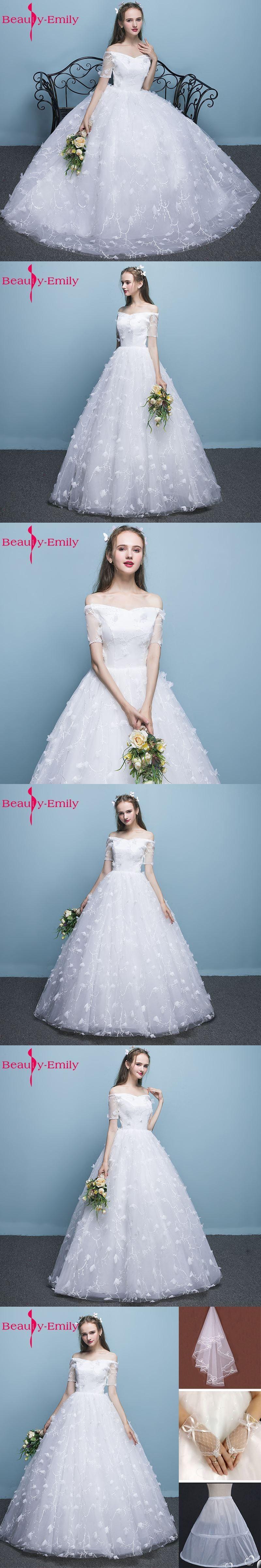 Beauty-Emily Normal Bride Simple White Wedding Dresses 2017 V-Neck ...