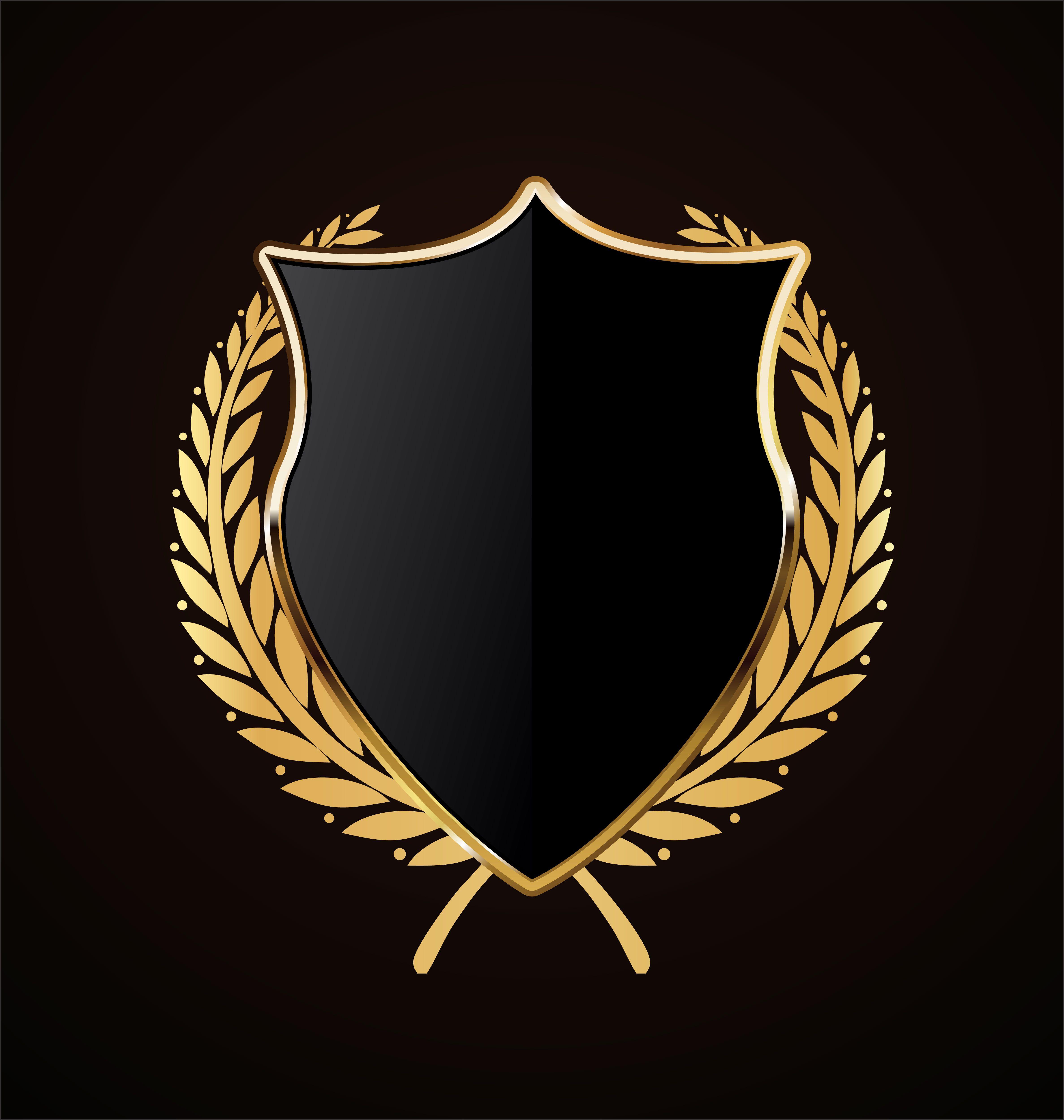 diseño retro escudo dorado Logotipo artístico, Logotipos