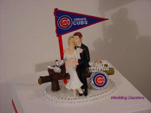 Cubs Wedding Cake Toppers Chicago Baseball Sports Fan Funny Groom Topper
