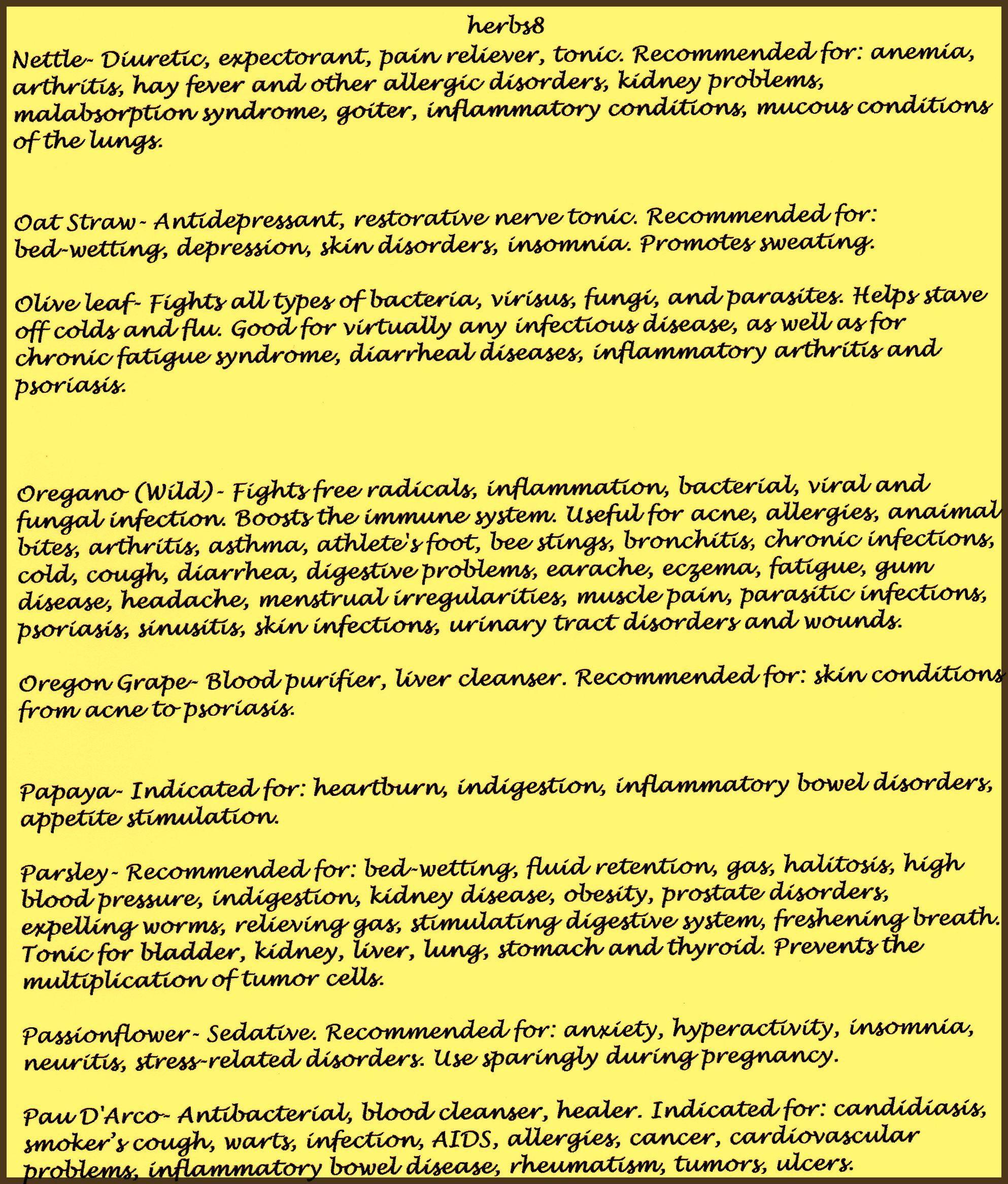 Alphabetical Listing of Herbs and their Uses  . Nettle - Pau D' Arco