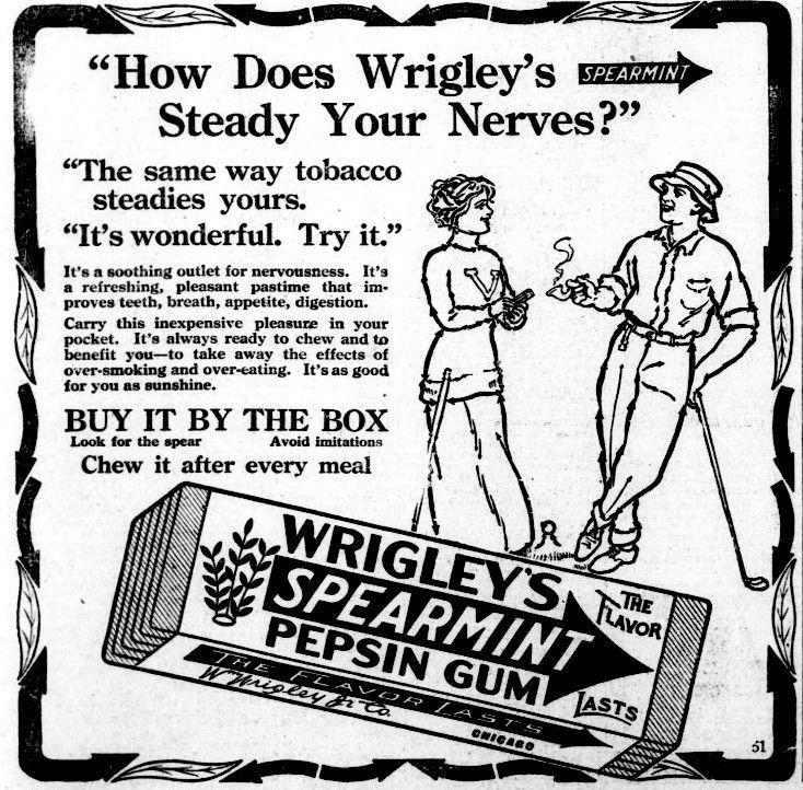 Wrigley's Spearmint Gum 1913 ad | A number 5 effluvium