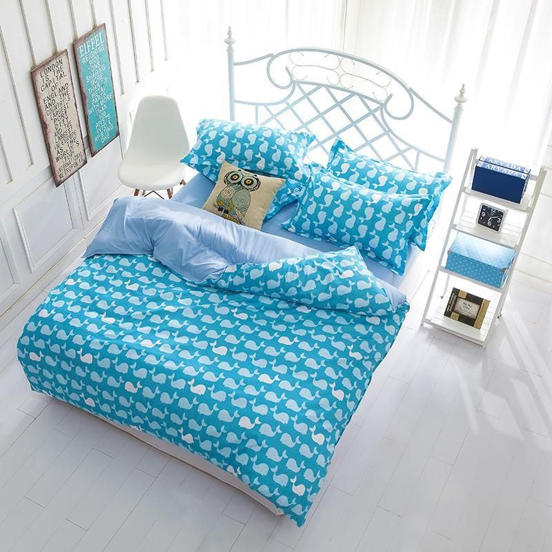 Blauwal Doppel Queen King Bett Set Kopfkissenbezuge Quilt Cover