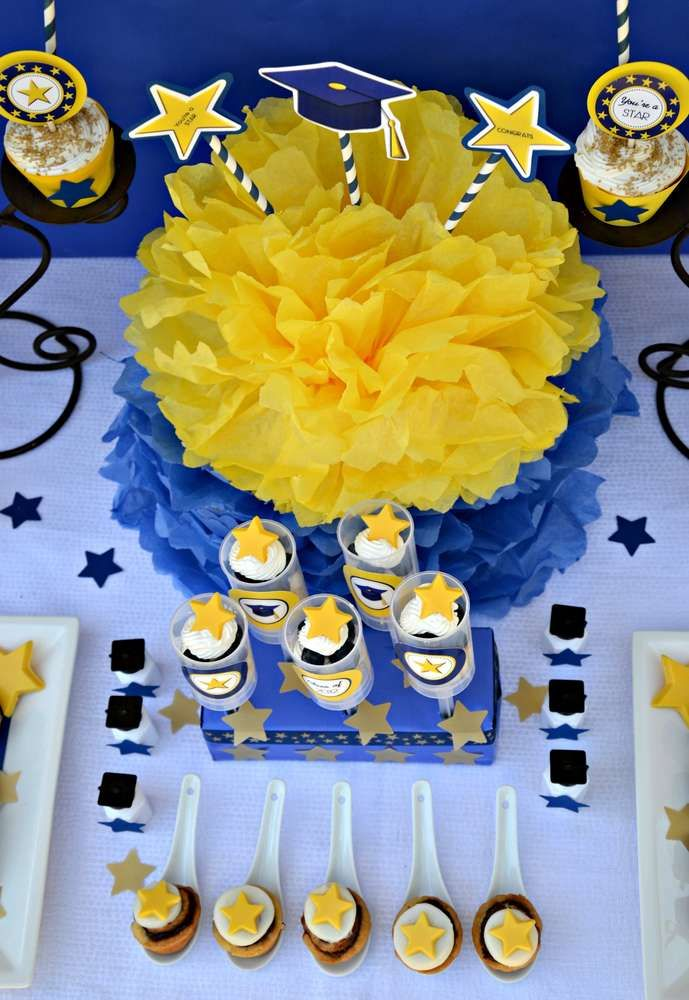 Blue And Yellow Graduationend Of School Party Ideas Open House
