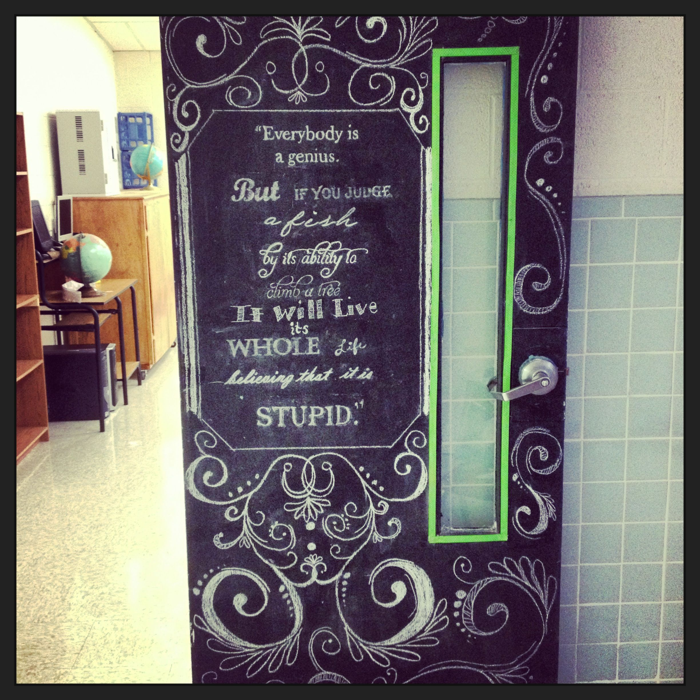 Classroom Chalk Decor ~ Chalkboard classroom door teacher of the year material