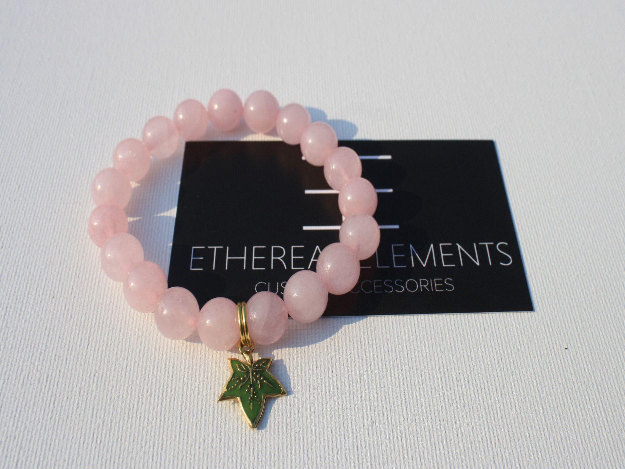 Natural pink jade bracelet with green ivy leaf bracelets and other