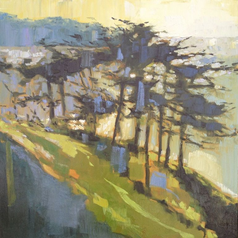 Nicholas Coley.  The use of light is beautiful.  I feel like I'm walking on a chilly morning and the wind is rushing through the trees.
