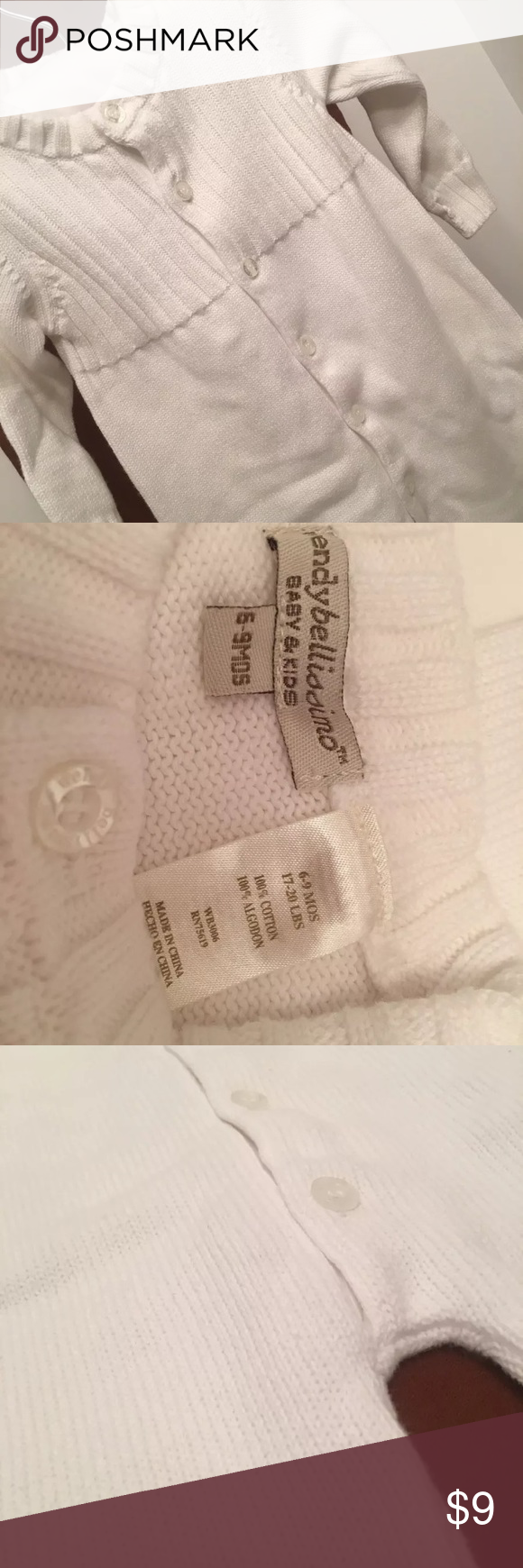 wendy bellissimo White Cable Knit Coveralls 6-9 M wendy bellissimo Gender Neutral White White Cable Knit Coveralls  Baby Boy 6-9 M Wendy Bellissimo One Pieces