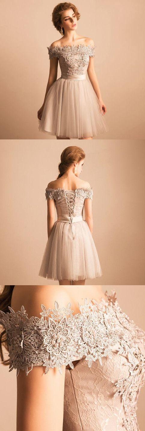 Aus der Schulter Heimkehr Kleid mit Ärmel Party Lace Homecoming Kleid   – clothes/hair/beauty
