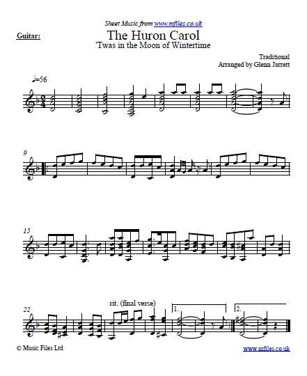 the huron carol arranged for guitar by glenn jarrett download sheet music midi and mp3. Black Bedroom Furniture Sets. Home Design Ideas