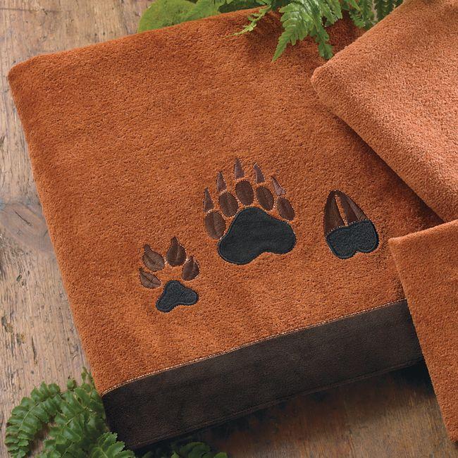 Paw Prints Copper Bath Towel Bear Decor Rustic Bathroom