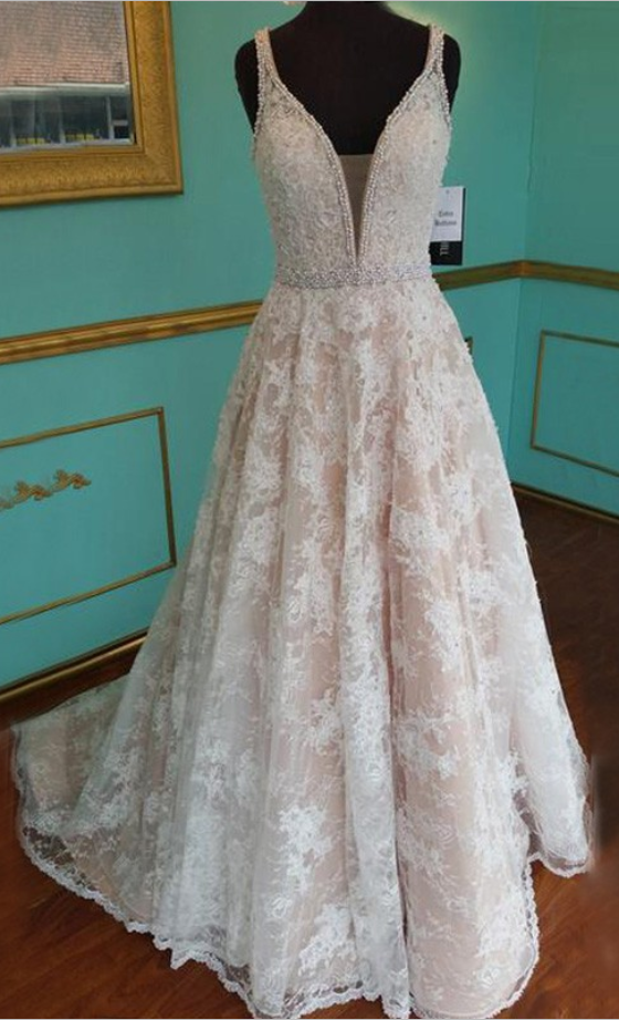 New Arrival Prom Dress - V Neck Sweep Train Lace with Pearls | Gowns ...
