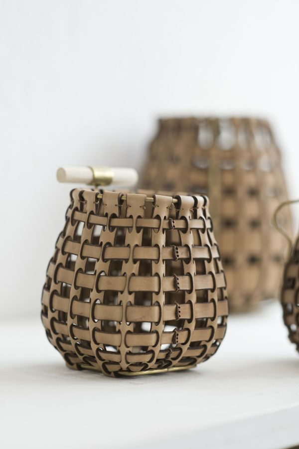 Leather in Basketry, combining traditional basketweaving with modern day processes including lasercutting - COLIN