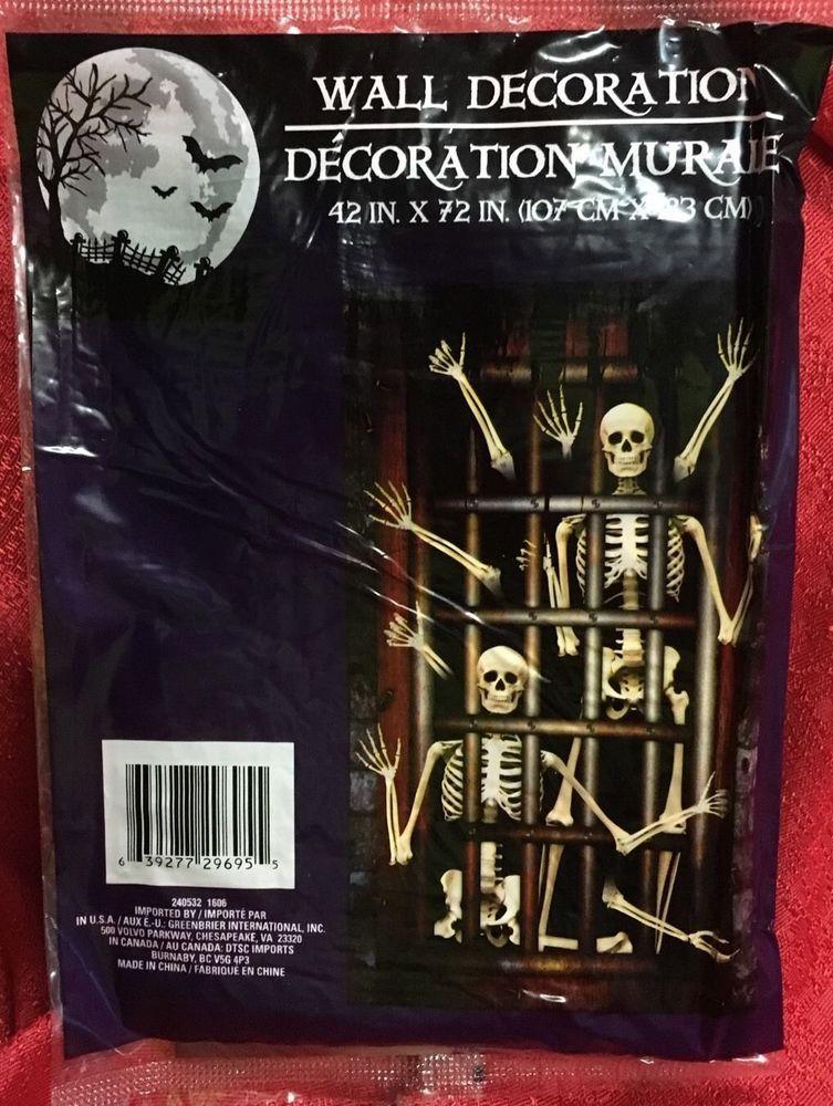 New* skeleton silhouette door cover mural halloween decor