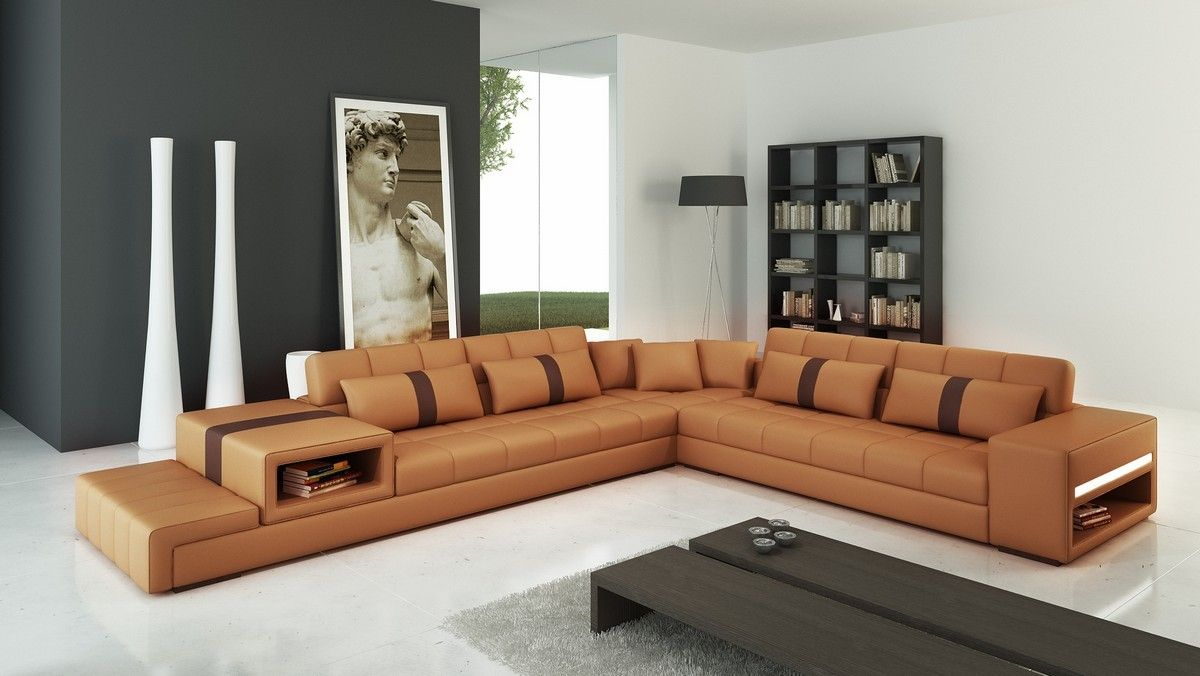 Modern Camel And Brown Sectional Sofa Features A Durable Long Lasting Construction Perfect For Movie Time