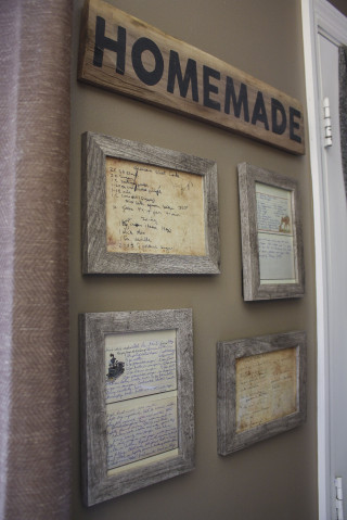 Heirloom Recipe Wall is part of Vintage wall decor, Decor, Farmhouse wall decor, Framed recipes, Rustic home design, Cheap home decor - I love old things  Whether it be old barn wood, old fabric, old furniture, old country music or even old people; I love all things old  China… who wants new china  Slap the word vintage on th…