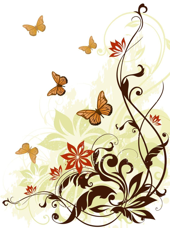 Векторные картинки цветы и бабочки, грузовиком