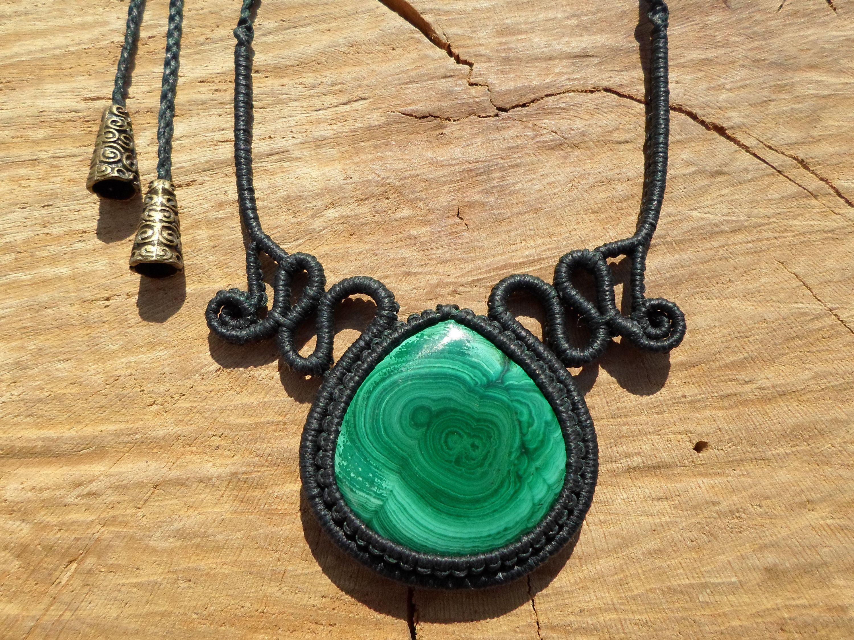 Macramee necklace-malachite-macrame necklace-adjustable length