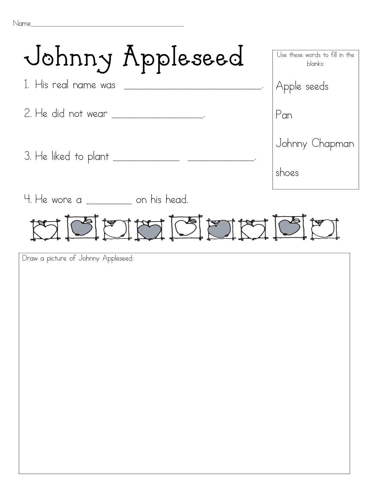 Worksheets Johnny Appleseed Worksheets apples im pretty sure most kinder 1st grade and 2nd johnny appleseed fill in the blank