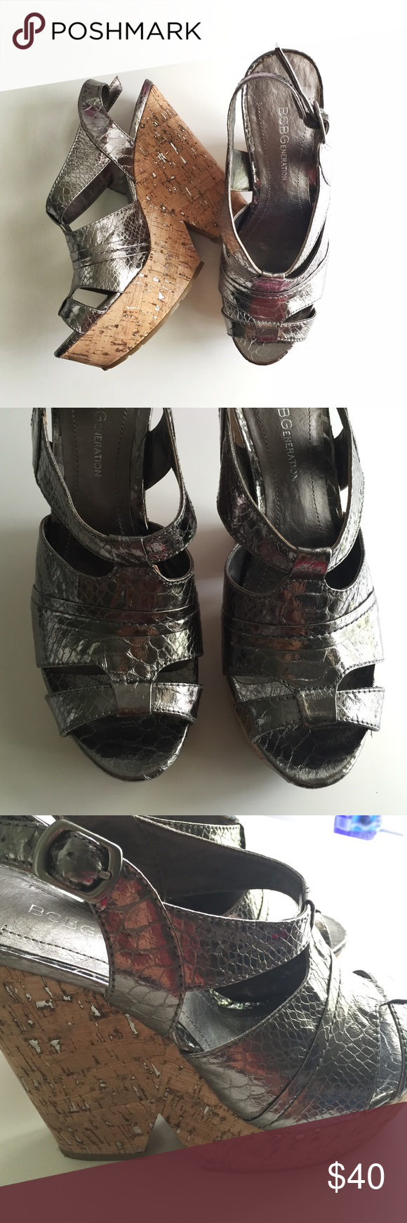 BCBG Silver Wedges Only worn once. Excellent condition!   ✔️ Accept all reasonable offers  No trades BCBGeneration Shoes Wedges
