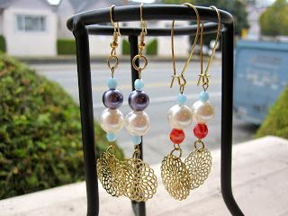 Pearls and Czech glass beads earrings♡♡