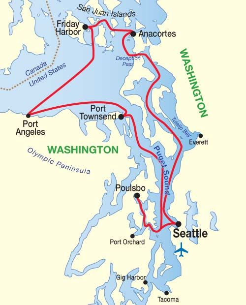 Puget Sound San Juan Islands Cruise Map Family Memory Spots Wa - Puget-sound-on-us-map