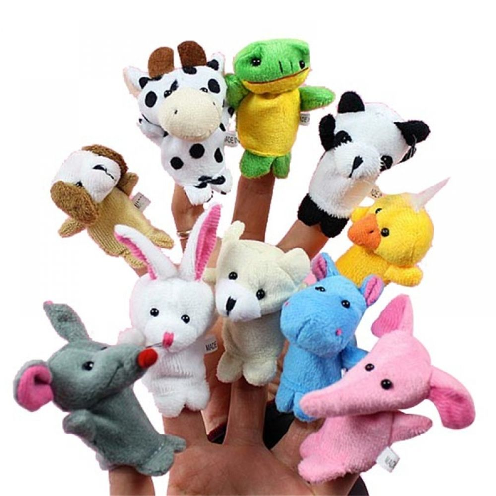 10 pcs//Bag Baby Plush Toy Finger Puppets Tell Story Props Animal Doll Kids Toys