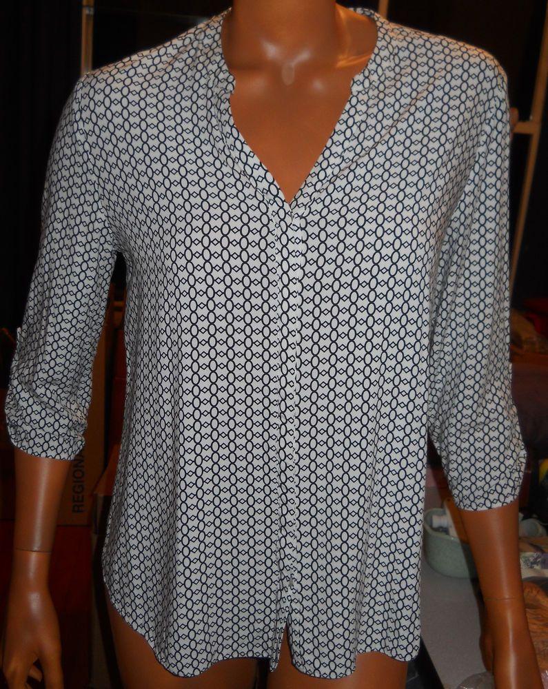 SOLD!! Cynthia Rowley Rayon Top Blouse M Career White Black Geometric 3/4 Sleeve Shirt #CynthiaRowley #Blouse #Career