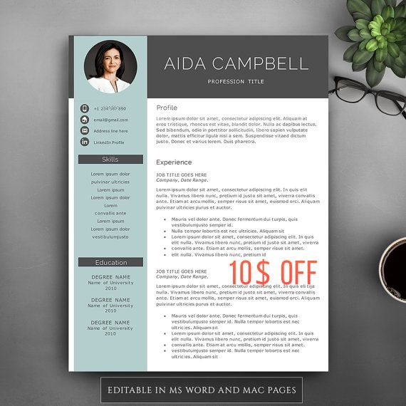 Modern Resume Template For Pages  MS Word Complete 1,2,3 Pages