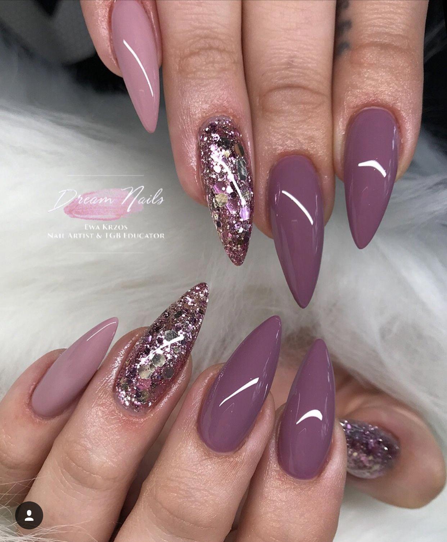 Nails Purplenails Stillettonails Purple Violeta Glitter Acrylicnails Stilletto Nails Gel Nails Nails 2018