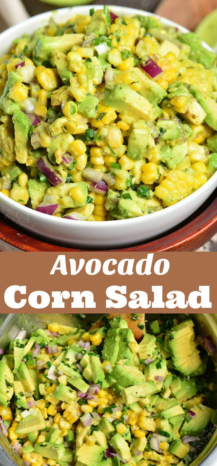 Avocado Corn Salad. This simple salad features corn on the cob, a generous addition of avocado, red