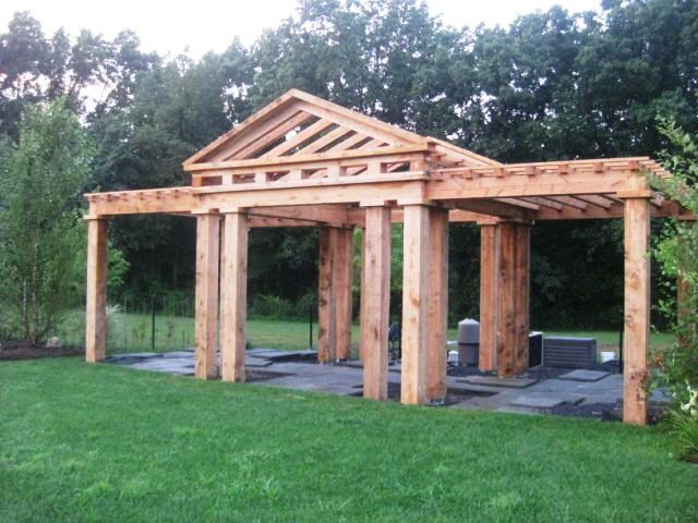 Post and Beam Pergola, Constructed by Vermont Timber Works, Inc - Post And Beam Pergola, Constructed By Vermont Timber Works, Inc