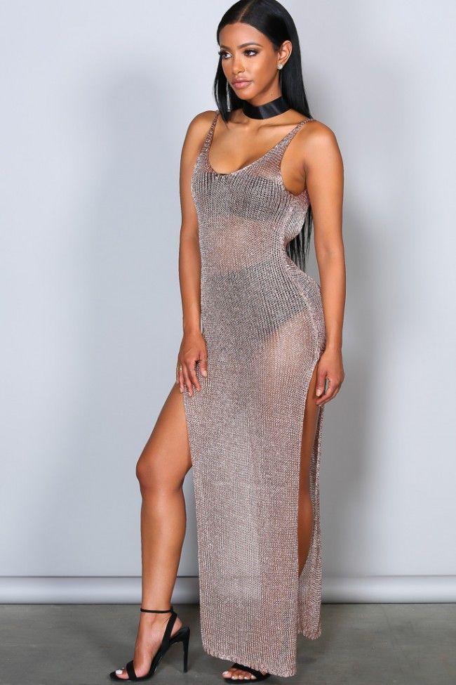 See Through Me Metallic Dress Rosegold Metallic Dress Dresses Fashion