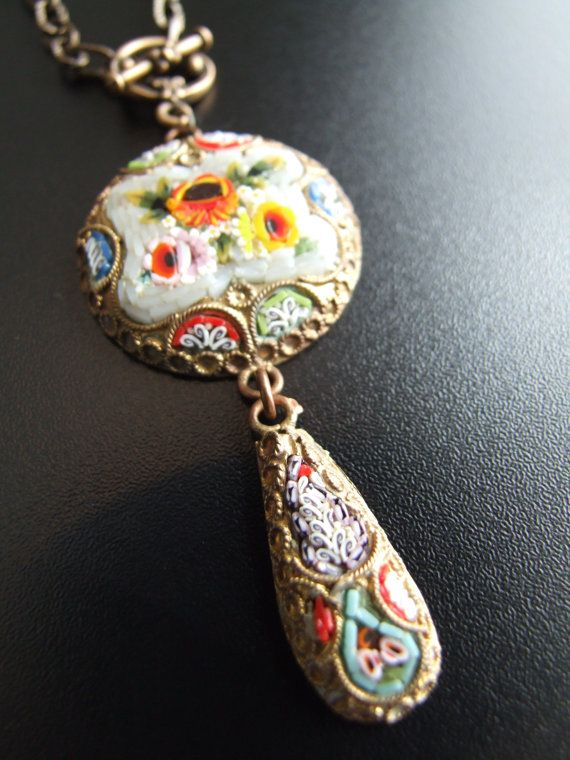 Italian Millefiore Floral Micro Mosaic by CostumierVintage on Etsy, $199.00