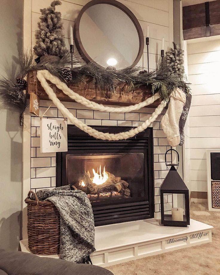 Fire Place Decorating Ideas #winterdecor