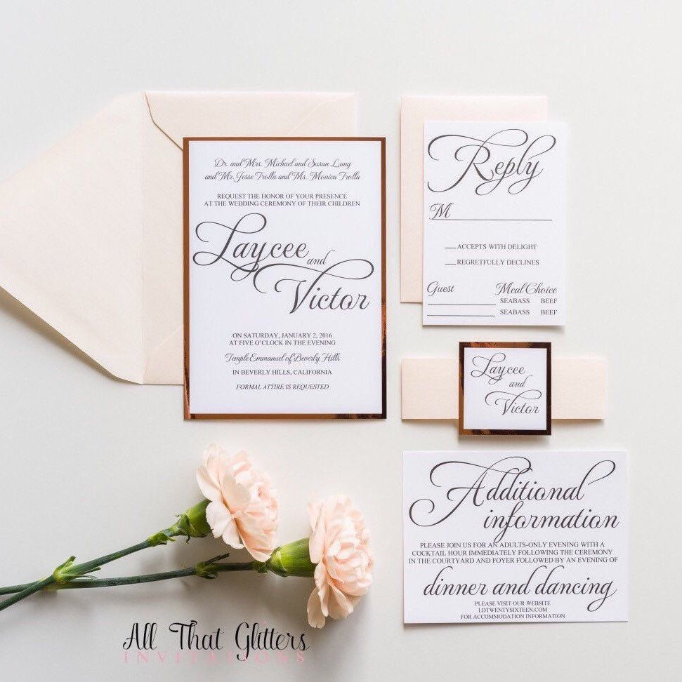 Rose Gold Foil Wedding Invitations Black And Blush With