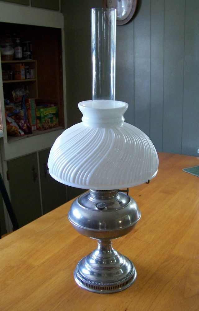 1905 Antique Rayo Oil Kerosene Lamp Nickle Plated W White Milk Glass Shade Vintage Lamps And
