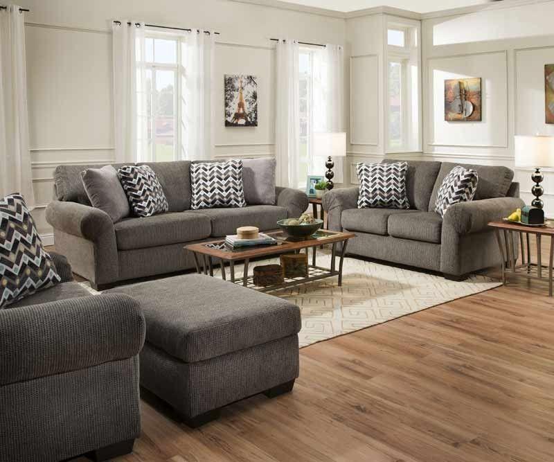 Simmons Upholstery Tokyo Pebble 2 Piece Queen Sleeper Sofa Set