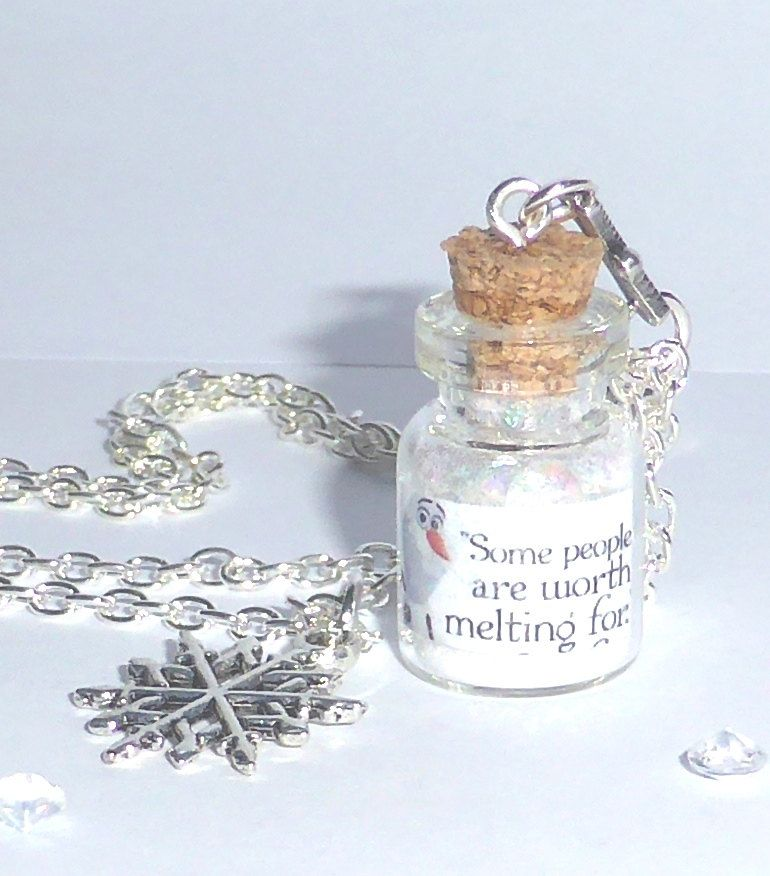 "Frozen Bottle Necklace Olaf  ""Some people are worth melting for"" Vial Snowflake chain Disney by AdornaJewellery on Etsy"