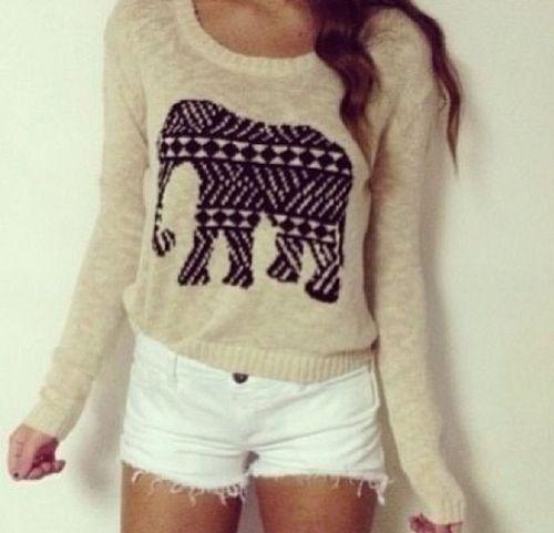 Shorts and elephant sweater