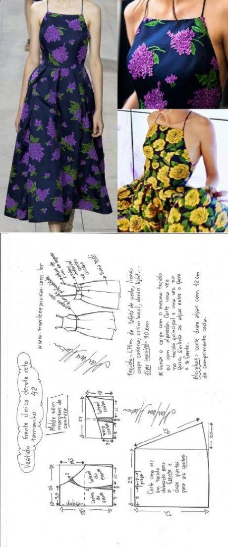 Vestido midi frente única decote reto – DIY – molde, corte e costura ...