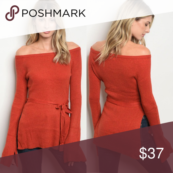 77ae919fd83f Just In!! 🍁Orange Sweater Long sleeve off the shoulder sweater with bell  sleeves and tie at waist. Fabric Content  50% POLYESTER 45% ACRYLIC 5%  ANGORA ...