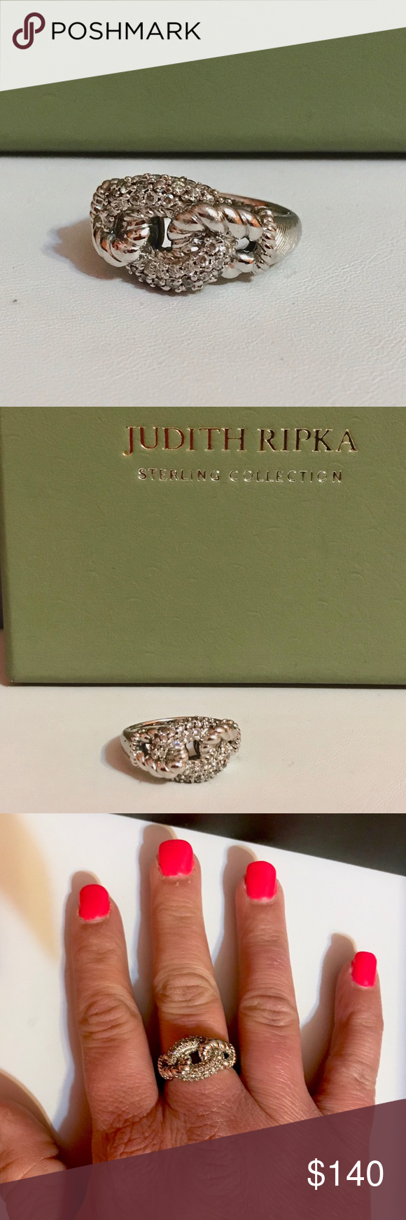 RIPKA Sterling silver pave' Curb link ring JUDITH RIPKA 925 SILVER DIAMONIQUE PAVE' CURB LINK RING, SIZE 7.  Excellent pre-owned condition n Bead-set, round Diamonique simulated diamonds are pave-set to sparkle along the interlocking, twisted curb link design of this sophisticated ring. A textured and polished ...