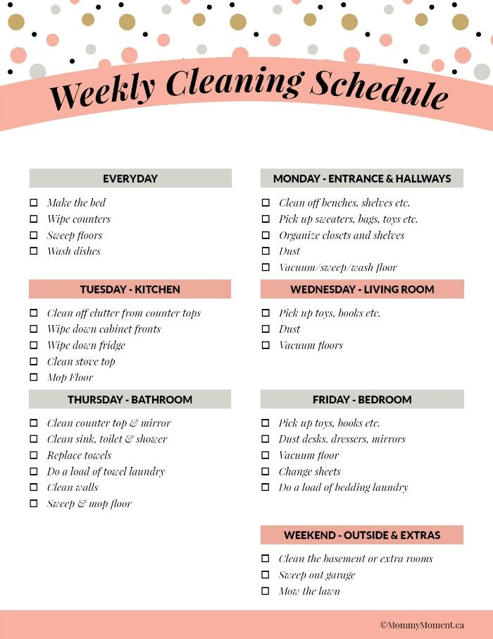 weekly house cleaning schedule printable dailyeaning checklist